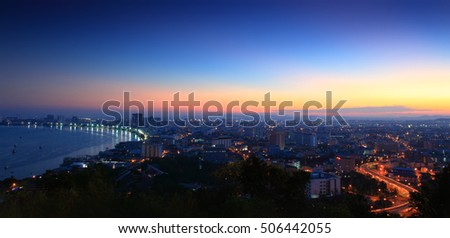 Panorama cityscape of Pattaya city in Thailand, at night