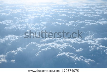 Panorama clouds with aircraft altitude - stock photo