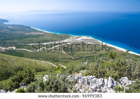 panorama coast of southern Albania near Llogara pass - stock photo