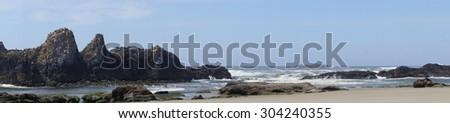 Panorama, coastal headlands near   Seal Rocks,  Oregon Coast - stock photo