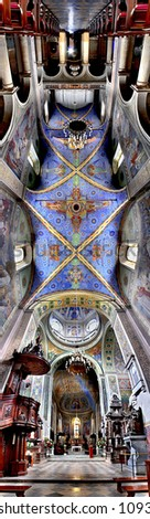 Panorama 180 degree of interior cathedral. Poland. - stock photo