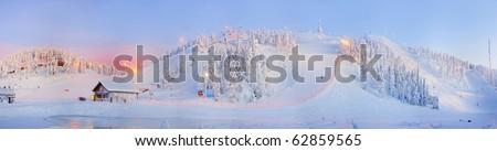 Panorama downhill. Ruka, Finland - stock photo