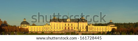 Panorama Drottningholms slott (royal palace) outside of Stockholm, Sweden - stock photo