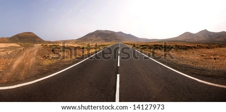 Panorama endless road - stock photo