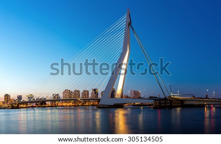 Panorama Erasmus bridge over the river Meuse in , the Netherlands - stock photo