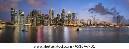 Panorama ,Financial Building in Marina Bay, Singapore with twilight sky