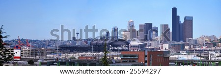 Panorama for Downtown of Seattle in foggy industrial morning. - stock photo