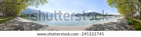 Panorama from annecy lake in French Alps - stock photo