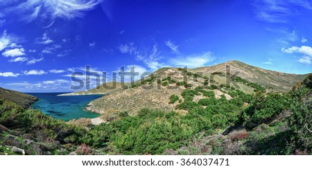 Panorama from bay of Grammata in Syros island, Cyclades, Greece. - stock photo