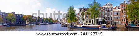Panorama from city scenic from Amsterdam in the Netherlands - stock photo