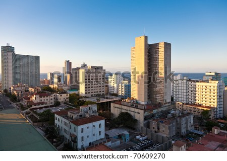 Panorama from hotel Tryp Habana Libre, Havana, Cuba - stock photo