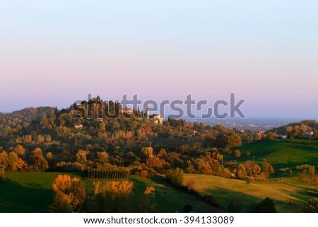 Panorama from italian hills in autumn season. Autumn landscape. Trees and hills - stock photo