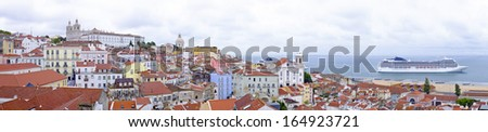 Panorama from Lisbon houses and harbor in Portugal - stock photo