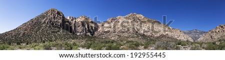 Panorama from the Red Rock Canyons National Conservation area in Nevada - stock photo