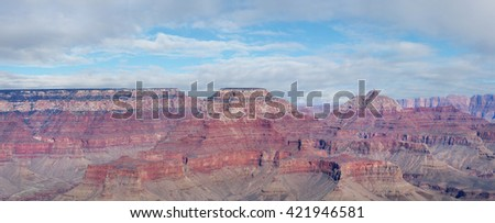 Panorama From the South Rim of The Grand Canyon  - stock photo