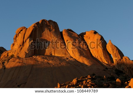 Panorama from three photos of the Spitzkoppe in Namibia - stock photo