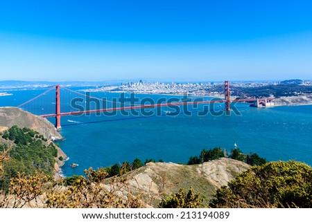 Panorama, Golden Gate Bridge and City of San Francisco - stock photo