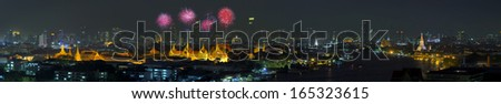 Panorama Grand Palace of Thailand at twilight in Bangkok. - stock photo