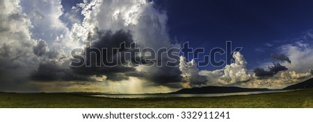 Panorama heavy cloud and storm - stock photo