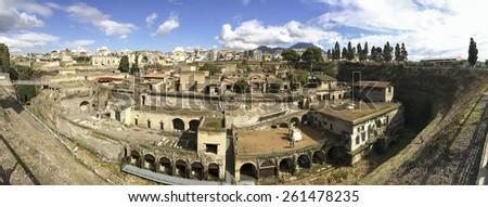 Panorama â?? Herculaneum, Ercolano, Naples, Italy - stock photo