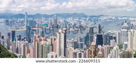 Panorama Hong Kong Skyline from Victoria Peak - stock photo
