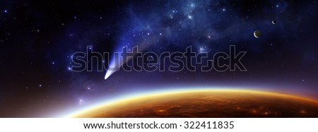 Panorama illustration of an alien planet in space above its twilight zone with two moons and a comet.