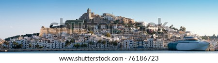 Panorama image of Ibiza town , Spain, Europe - stock photo