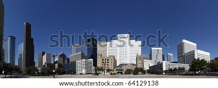 Panorama in Downtown Houston seen from Bell Street - stock photo