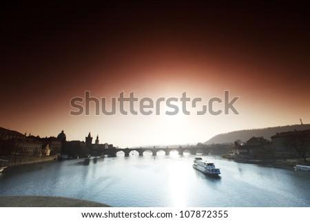 Panorama Karlov or Charles bridge in Prague in autumn - stock photo