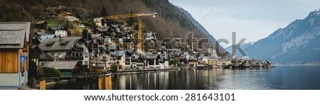 panorama lake view from Hallstatt, Austria - stock photo