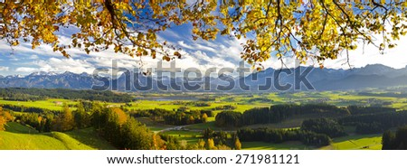 panorama landscape in Bavaria at alps mountains  - stock photo