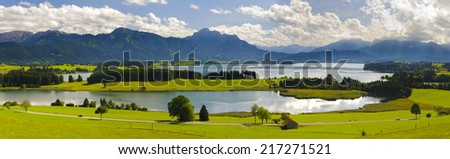 panorama landscape in Bavaria, Germany - stock photo
