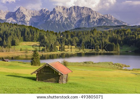 panorama landscape in Bavaria with Karwendel mountains and lake