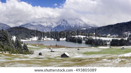 panorama landscape in Bavaria with Karwendel mountains and lake at winter