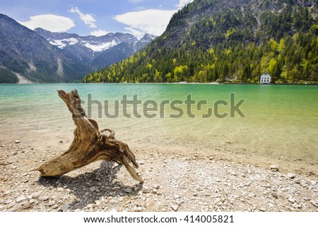 panorama landscape in Bavaria with lake and alps mountains - stock photo
