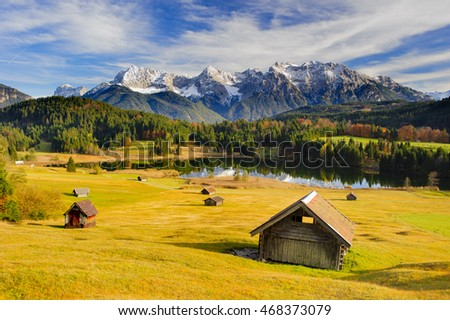 panorama landscape in Bavaria with lake and mountains of Karwendel alps