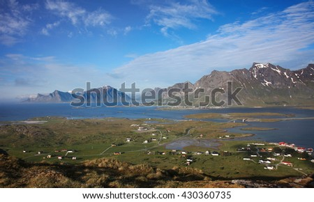 Panorama landscape in northern Norway - stock photo