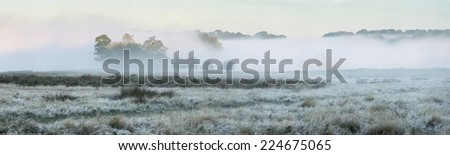 Panorama landscape of foggy Autumn Fall sunrise over frosty fields with trees visible through fog in distance - stock photo