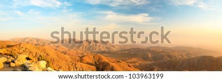 Panorama landscape of North American desert in Joshua Tree National Park, USA. Sunset. - stock photo
