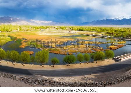 Panorama Landscape view of Leh Ladakh, Northern India.  - stock photo