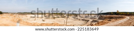 Panorama  large quarry limestone ore - stock photo