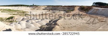 Panorama  large quarry limestone ore - stock photo