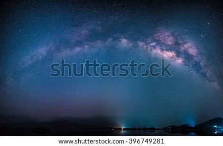 Panorama Milky way. Long exposure photographs. - stock photo