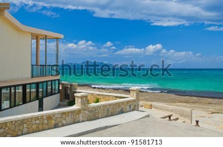 Panorama. Modern luxury villa on the beach. Mallorca. Spain - stock photo