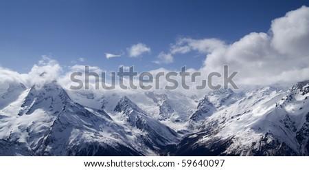 Panorama Mountains. Caucasus, Dombay. - stock photo