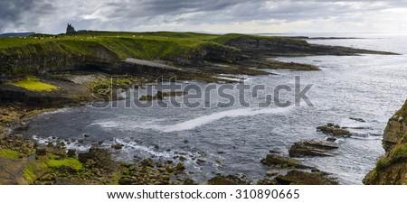 Panorama Mullaghmore with beautiful cliffs and coastline in Sligo, Ireland - stock photo