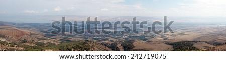Panorama near Kinneret and Jordan river, Israel                                - stock photo
