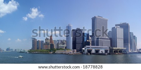 Panorama, New York Skyline,	from Staten Island Ferry,	Lower Manhattan, Financial District,	New York City