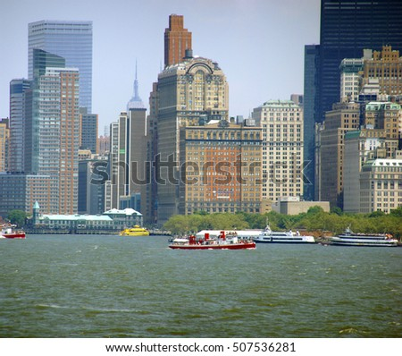 Panorama, New York Skyline,from Staten Island Ferry,Lower Manhattan, Financial District,New York City