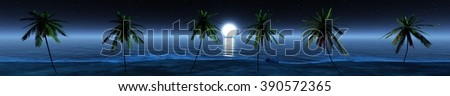 panorama night beach, the moon above the palm trees, a panorama of tropical beach, palm trees on the beach, seascape - stock photo